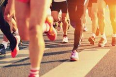 Marathonatleten het lopen Stock Foto