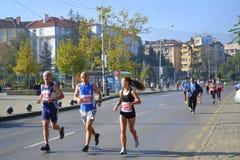 Marathoners Sofia streets Royalty Free Stock Image