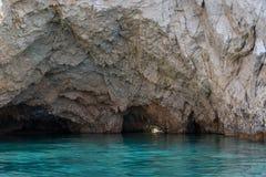 Marathonisi cave and beach on Turtle island Marathonisi, Greece, south of the island of Zakynthos, Greece. Stock Images