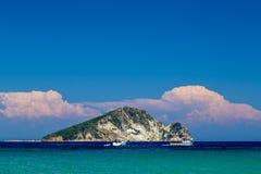 Marathonisi Island on Zakynthos royalty free stock photo