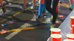 Marathons Refreshing Station stock footage