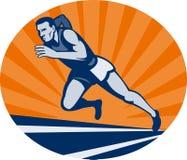 Marathonseitentrieb auf Spur Stockfoto