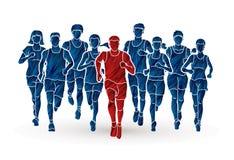 Maratońscy biegacze, grupa ludzi bieg, mężczyzna i kobiety biega wpólnie, ilustracji