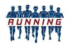 Maratońscy biegacze, grupa mężczyzna biega z teksta bieg royalty ilustracja