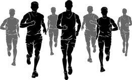 Maratońscy Męscy biegacze ilustracja wektor
