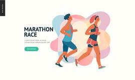 Maratońska biegowa grupa royalty ilustracja