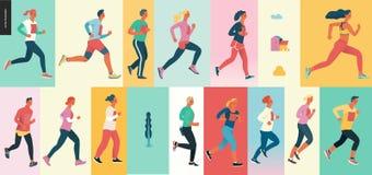 Maratońska biegowa grupa ilustracji