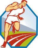 Maratoński biegacz Biega Biegowego ślad Retro Zdjęcia Stock