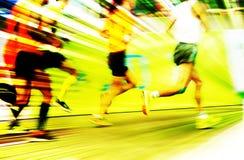Maraton biegający na miasto drodze Fotografia Stock