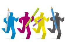 Maraton för grafisk formgivare, designteamworkbegrepp Royaltyfri Foto