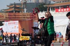 maraton zhuhai för 2011 hejaklacksledarear Arkivbild