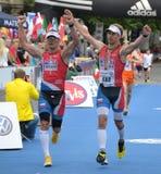 Maraton-Ziellinie Stockfoto