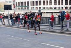 Maratona 2012 de Londres - Kipsang, Lilesa, Kirui Fotos de Stock Royalty Free
