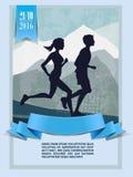 Maratona corrente, caratteri della gente, funzionamento Fotografia Stock Libera da Diritti