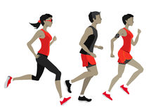Maratona corrente, caratteri della gente, funzionamento Fotografie Stock