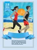 Maratona corrente, caratteri della gente, funzionamento Immagini Stock Libere da Diritti