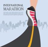 Maratona corrente della città i piedi del corridore dell'atleta che corrono sul primo piano della strada sulla scarpa nella città illustrazione di stock