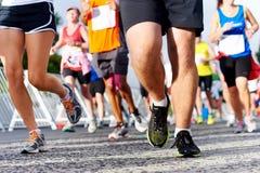 Maratona corrente della gente Fotografie Stock