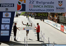 maratona da maratona-Terminar-Metade 22nd.Belgrade Foto de Stock