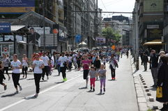 Maratona 2014 de Belgrado fotografia de stock