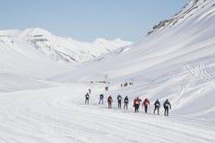 Maratona de Svalbard da maratona do esqui do país transversal Fotografia de Stock