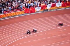 Maratona degli uomini nei giochi di Pechino Paralympic Fotografie Stock