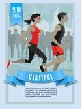 Maratona della città, caratteri della gente, funzionamento Immagine Stock Libera da Diritti