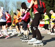 Maratona di Madrid dei pattinatori e dei corridori Fotografie Stock