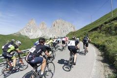 Maratona-dles Dolomit Enel-bycicle Straßenrennen lizenzfreies stockfoto