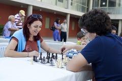 Maratona do competiam da xadrez Fotos de Stock