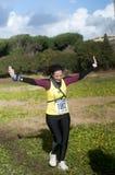 Maratona running do esmagamento, Roma da mulher, Itália Fotos de Stock