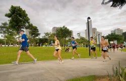 maratonlöpare 2008 singapore Fotografering för Bildbyråer