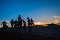 Maratonlöpare Dawn Colors Sunrise Fotografering för Bildbyråer