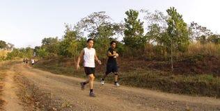 maratonlöparetrail Royaltyfria Bilder