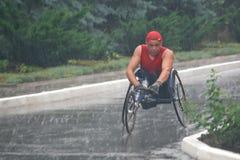 Maratonmän med paraplegi Arkivbilder