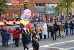 Maratonsikt för 2014 NYC på den 1st avenyn Arkivfoton
