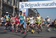 Maratonstart Arkivfoton