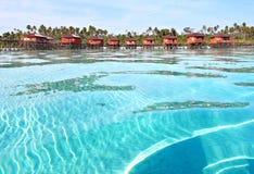 Maratua, Derawan,印度尼西亚海景视图  免版税图库摄影