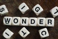 Maravilha da palavra em cubos do brinquedo Foto de Stock Royalty Free