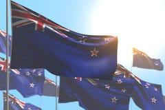 Maravilhoso alguma ilustração da bandeira 3d da ocasião - muitas bandeiras de Nova Zelândia estão acenando contra a foto do céu a ilustração do vetor
