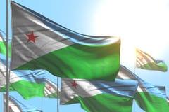 Maravilhoso muitas bandeiras de Jibuti são onda contra a foto do céu azul com foco macio - toda a ilustração da bandeira 3d da oc ilustração royalty free