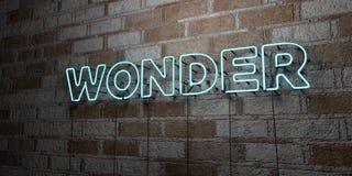 MARAVILLA - Señal de neón que brilla intensamente en la pared de la cantería - 3D rindió el ejemplo común libre de los derechos Foto de archivo libre de regalías