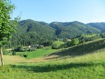 Maravillosamente opinión del panorama con un cielo de azules turquesa, montañas verdes y viñedos imagen de archivo