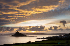 Marazion Cornwall. Sunset over St Michaels Mount and Marazion Cornwall England UK Royalty Free Stock Image