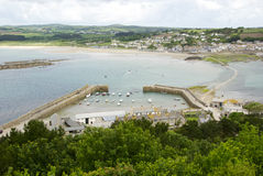 Marazion gesehen von Berg St. Michaels, Cornwall Großbritannien Lizenzfreie Stockbilder
