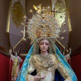 MARBELLA ANDALUCIA/SPAIN - JULI 6: Staty av Madonna i th Royaltyfri Bild