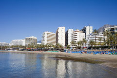 Marbella Beach and City Skyline in Spain Royalty Free Stock Photography