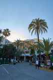 Marbella en palmtrees Royalty-vrije Stock Foto