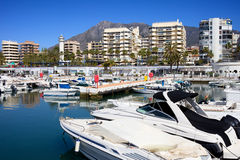 Marbella Harbour. Harbour in resort city of Marbella, popular vacation destination in southern Spain, Andalucia region, Malaga province Royalty Free Stock Photography