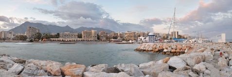Marbella panorama seen from the sailing port Stock Image